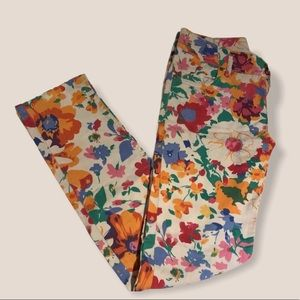 Flower Colorful white summer jeans